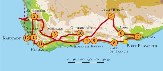 Südafrika Karte Sehenswürdigkeiten.Kreuz Des Südens Selbstfahrerreise Durch Zederberge Gardenroute